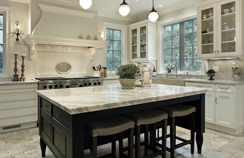 White Marble Kitchen Counter On Island Chicago Super White Countertops, IL